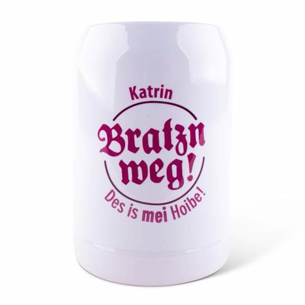 """Bierkrug """"Bratzn weg!"""" mit Wunschname"""