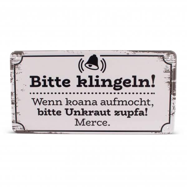 """Blechschild """"Unkraut zupfa"""""""