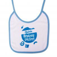 """Babylätzchen """"Brotzeit Latzerl"""" blau mit Wunschnamen"""