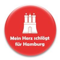 Nadel-Button 'Mein Herz schlägt für Hamburg!'