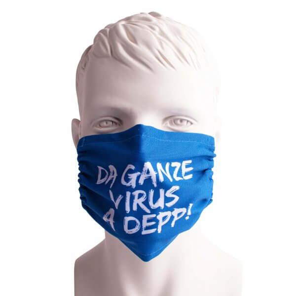 """Bayrische Mund-Nasen-Maske """"Da ganze Virus a Depp!"""""""