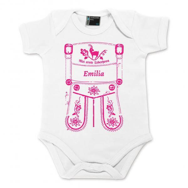 Baby Body Lederhose mit Wunschname pink