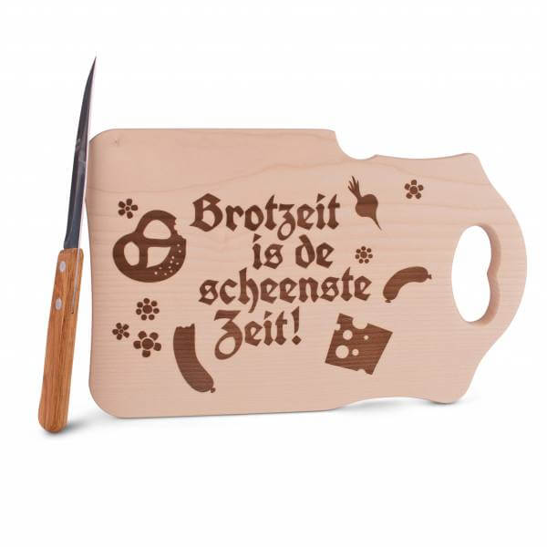 "Brotzeitbrettl ""Brotzeit is de scheenste Zeit"""